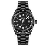 MASTOPMen Automatic Mechanical Watch Classic Automatic self Wind Watch Stainless Steel Business Analog Dress Watch (Black)