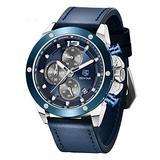 BENYAR Mens Watches Chronograph Sports Leather Waterproof Date Analog Quartz Fashion Business Wrist Watches for Men