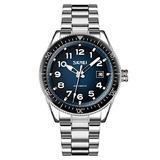 MASTOPMen Automatic Mechanical Watch Classic Automatic self Wind Watch Stainless Steel Business Analog Dress Watch (Silver Blue)