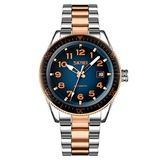 MASTOPMen Automatic Mechanical Watch Classic Automatic self Wind Watch Stainless Steel Business Analog Dress Watch (Rose Gold Blue)