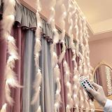 LACKINGONE 10x10ft Feather White String Lights Fairy Lights Battery Operated String Lights 300 LED String Lights Ramadan Lights Twinkle Lights for Bedroom Outdoor Curtain Lights Wedding Party Lights