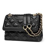 LAORENTOU Leather Quilted Handbags for Women Cowhide Satchel Shoulder Bags with Chain Strap, Ladies Checkered Handbag and Chain Purses for Women (Black)