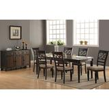 Dining Set - Darby Home Co Otisco 7 Piece Dining Set, Wood/Upholstered Chairs in Brown