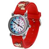 Relda Girl's/Boy's-Children Time Teacher 3D Monkey Red Silicone Strap Watch + Telling The Time Award