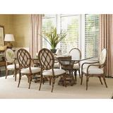 Tommy Bahama Home Bali Hai Aruba Round Dining Table Glass/Wicker/Rattan in Brown, Size 29.0 H x 21.5 W x 21.5 D in | Wayfair