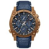 Bulova Precisionist Chronograph Mens Watch, Stainless Steel with Blue Leather Strap, Bronze-Tone (Model: 97B186)
