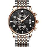 OLEVS Men's Fashion Wrist Watch 42mm Big Dial Business Dress Watch Stainless Steel Band Multi-Functions Timepiece Analog Quartz Watch with Calendar Chronograph Luminous Hands