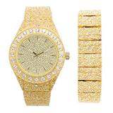 Mens 14k Gold Tone Iced Out Nugget Style Metal Band Watch with 44mm Case + ICY Bling-ed Out Matching Nugget Bracelet with Removable Links (Quartz Movement Timepiece)