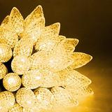 Joliyoou C9 Christmas String Lights, 33 Ft 50 LED White C9 Christmas String Lights, Outdoor Fairy Lights with 29V Safe Adaptor, Christmas String Lights for Patio Xmas Tree Wedding Party Decoration