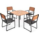 """Moccha 5-Piece Aluminium Patio Dining Table Set, Metal Table and 4 Chairs Set w/Wood-Like Table Top and Built-in Umbrella Hole, Umbrella Hole 2"""", Bistro Table Dining Set for Yard, Garden, Balcony"""