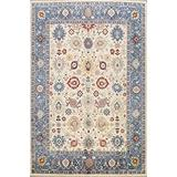 Vegetable Dye Floral Oushak Turkish Oriental Area Rug Hand-Knotted Wool Carpet 8x10 (8' 2'' x 9' 11'')