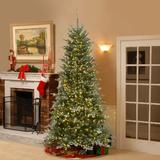 """The Holiday Aisle® Snowy Morgan Slim 6'6"""" Green Spruce Artificial Christmas Tree w/ 1300 Color & Clear Lights in Green/White   Wayfair"""