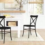 Sand & Stable™ Amelia Metal Cross Back Side Chair in Matte Metal in Black, Size 34.75 H x 19.25 W x 18.5 D in   Wayfair