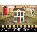 Harper Orchard Primitive Welcome Home - Unframed Graphic Art Print on Wood Wood in Black/Brown/Green, Size 9.0 H x 12.0 W x 1.0 D in   Wayfair