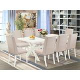 Laurel Foundry Modern Farmhouse® Lambersart 9 - Piece Rubberwood Solid Wood Dining Set Wood/Upholstered Chairs in Gray/White | Wayfair