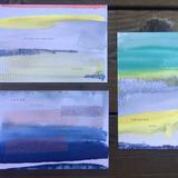 Anthropologie Wall Decor | Anthropologie Postcards Mini Original Abstract Art | Color: Blue/Yellow | Size: Os
