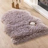 Asrug Super Soft Fluffy Shaggy Faux Fur Rug No Shedding Faux Sheepskin Chair Cover Seat Pad Sofa Pad Couch Pad Fuzzy Plush Area Rug for Living Room Bedroom, 2ft x 3ft, Khaki with White Tips