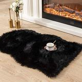 Asrug Super Soft Fluffy Shaggy Faux Fur Rug No Shedding Faux Sheepskin Chair Cover Seat Pad Sofa Pad Couch Pad Fuzzy Plush Area Rug for Living Room Bedroom, 2ft x 3ft, Black