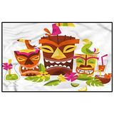 Luau Modern Soft Rug Pad Tiki Masks Drinks Birds Indoor Outdoor Carpet Modern Home Decoration 4 x 5 Ft