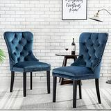 Velvet Upholstered Dining Chairs, Set of 2 Dining Room Tufted Chair, Modern Button Tufted Armless Chairs with Nailhead Trim and Back Ring Pull(Navy Blue)