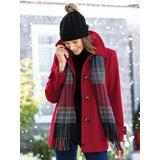 Women's London Fog Wool Scarf Coat, Red P-M