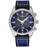 Eterna Men's 1250.41.81.1303 KonTiki Black Luminescent Dial Blue Leather/Rubber Strap Chronograph Quartz Date Watch