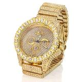 Luxury Mens Unisex Crystal Watch Bling Iced 3 Ring Watch 14k Gold Plated Wristwatch Fashion Quartz Analog Watch Stainless Steel Bracelet