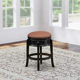 East West Furniture AMS024-112 Stunning Bar Stool- Backless Stool with Round Shape - Brown Roast PU Leather Seat and 4 Solid Wood Curved Legs - Stool Counter Height Black Finish, 24
