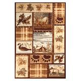 Furnish My Place Wildlife Accent Rug - 7 ft. 8 in. x 11 ft., Multicolor, Lodge Indoor Rug with Animal Print, Jute Backing, Elegant Border