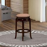 East West Furniture AMS030-303 Wonderful Counter Height Bar Stool- Bar Stool with Round Shape - Mocha PU Leather Seat and 4 Solid Wood Curved Legs - Backless Counter Stool Mahogany Finish, 30