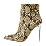 onlymaker Women's Ankle Boots Transparent Stiletto Boots Snake Print Patent Leather High Boots Winter Boots Side Zipper Heels Snake Print Size 9