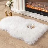 Asrug Super Soft Fluffy Shaggy Faux Fur Rug No Shedding Faux Sheepskin Chair Cover Seat Pad Sofa Pad Couch Pad Fuzzy Plush Area Rug for Living Room Bedroom, 2ft x 3ft, White