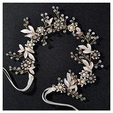SWEETV Flower-Leaf Wedding Headpieces for Bride Hair Pieces Crystal Bridal Headband Wedding Hair Accessories Flower Girl Bridesmaid Hair Vine