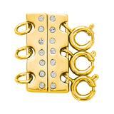 callura Women's Gold - Goldtone Tri-Layer Necklace Spacer With Swarovski Crystals