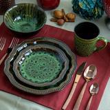 Elama Jade 16 Piece Dinnerware Set, Service for 4 Ceramic/Earthenware/Stoneware in Brown/Green   Wayfair 950114760M