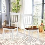 Gracie Oaks Ganit Solid Wood Slat Back Stacking Side Chair in White/Brown Wood in Brown/Green/White, Size 38.5 H x 18.0 W x 21.0 D in | Wayfair