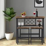 17 Stories Solberg 4 - Piece Counter Height Dining SetWood/Metal in Black/Brown, Size 38.5 H x 23.62 W x 43.3 D in   Wayfair