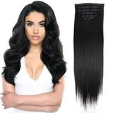 24inch PU Clip in Hair Extensions Synthetic Hair Black Thick Hair Extensions Clip in Synthetic For Women 160g