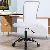 Home Office Chair Computer Chair Desk Chair Mid Back Mesh Chair Height Adjustable Small Office Chair, Modern Task Chair No Armrest Cheap Rolling Swivel Chair Student Office Chair with Wheels,White