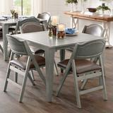 Madeira Folding Table & Chairs - Antique White/Marbled Dove Gray/Cane, Antique White, Cane - Grandin Road