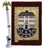 """Breeze Decor Patriotic House 2-Sided Polyester 40"""" H x 28"""" W Flag set in Brown/Red, Size 40.0 H x 28.0 W x 4.0 D in   Wayfair"""