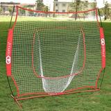 ovve Goplus 7' X 7' Baseball Softball Hitting Batting Portable Training Net w/ Carrying Case Plastic in Red, Size 84.0 H x 84.0 W x 42.0 D in