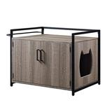 unipaws Wood Wood Litter Box Enclosure Wood in Gray, Size 21.8 H x 29.7 W x 20.1 D in | Wayfair UH5092