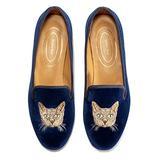 Journey West Women's Loafer Flat Velvet Embroidery Smoking Slippers Slip on Shoes for Women Cat Navy Blue US 6.5