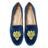 Journey West Women's Loafer Flat Velvet Embroidery Smoking Slippers Slip on Shoes for Women Vine Navy Blue US 8