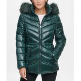 Kenneth Cole Women's Puffer Coats Dark - Dark Emerald Cinched Waist Faux Fur-Trim Hooded Puffer Coat - Women