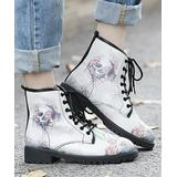 LoLa Shoes Women's Casual boots Cream - Cream Skull-Floral Combat Boot - Women
