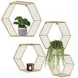 Set of 4 Gold Hexagon Wall Shelves, Floating Decorative Wire Wall Mounted Shelf, Geometric Floating Mesh Shelves, Boho Style Deep Gold Metal Shelving