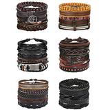 Florideco 30PCS Braided Leather Bracelets for Men Women Wrap Wood Beads Bracelet Woven Ethnic Tribal Rope Wristbands Bracelets Set Adjustable