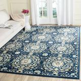 Bungalow Rose Ameesha Oriental Navy/Ivory Area Rug in Brown/White, Size 120.0 H x 96.0 W x 0.37 D in | Wayfair BNGL9182 33716140